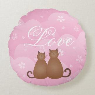 Coussins Ronds Calligraphie mignonne florale de couples de chat