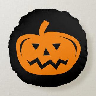 Coussins Ronds Carreau noir et orange de citrouille de Halloween
