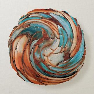 Coussins Ronds Carreau rond bleu d'art abstrait de la rouille N