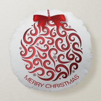 Coussins Ronds Carreau rouge simple de l'ornement   de Noël