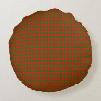 Coussins Ronds Contrôle rouge et vert de Noël classique de