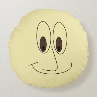 Coussins Ronds Copie de sourire de visage de bande dessinée