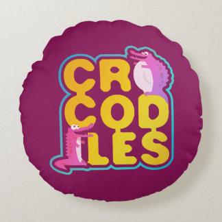 Coussins Ronds Crocodiles avec deux crocs heureux