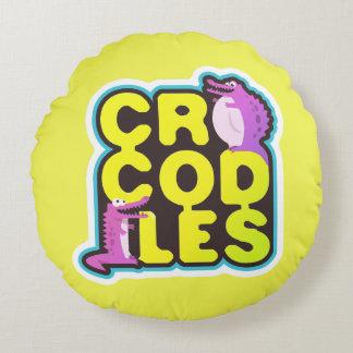 Coussins Ronds Crocodiles avec deux crocs heureux - vifs
