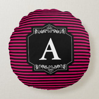 Coussins Ronds Custom Almofada Rond Bandes Pink Monogramme