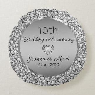 Coussins Ronds Diamants et 10ème anniversaire de mariage d'argent