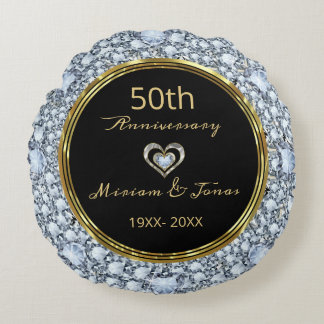 Coussins Ronds Diamants, noir et anniversaire de mariage d'or
