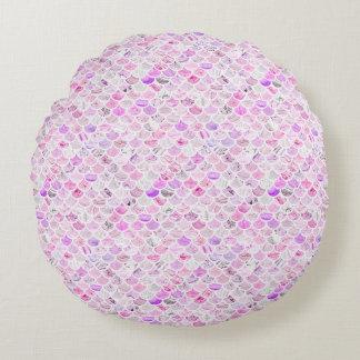 Coussins Ronds Échelles de marbre roses et pourpres de sirène