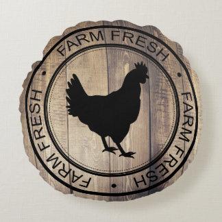 Coussins Ronds Étiquette noir frais de ferme de poule de ferme