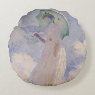 Coussins Ronds Femme de Claude Monet | avec le parasol tourné