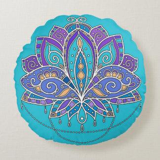 Coussins Ronds Fleur de Lotus colorée lumineuse sur la sarcelle
