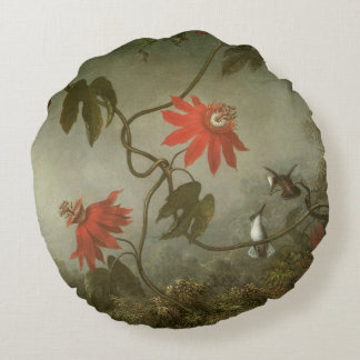 Coussins Ronds Fleurs et colibris de passion par Martin J Heade