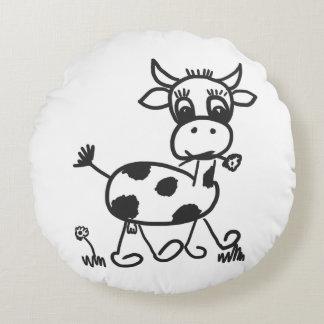 Coussins Ronds Funny Little Cow - Dekokissen environ, noir