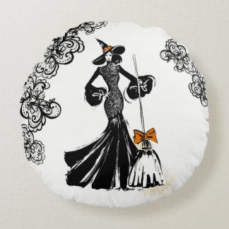 Coussins Ronds illustration de mode de Halloween avec la dentelle