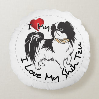Coussins Ronds J'aime mon chien de Shih Tzu