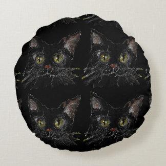 Coussins Ronds JASPE - votre chat noir de HALLOWEEN