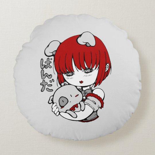 Coussins Ronds kawaii animal manga girl