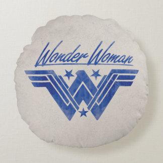 Coussins Ronds La femme de merveille a empilé le symbole