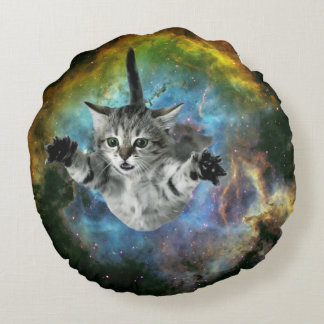 Coussins Ronds Lancement de chaton d'univers de chat de galaxie