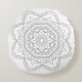 Coussins Ronds Mandala de fleur. Éléments décoratifs vintages.