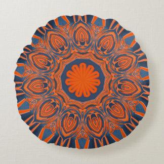 Coussins Ronds Mandala orange de bleu marine