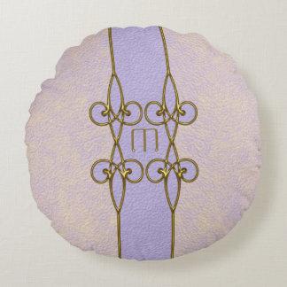 Coussins Ronds Monogramme à la mode de cru d'ornement d'or d'art