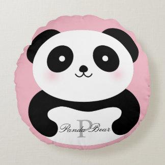 Coussins Ronds Monogramme Girly mignon d'ours panda de bébé