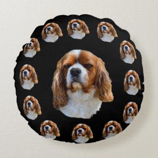 Coussins Ronds Motif cavalier de visage de chien d'épagneul,