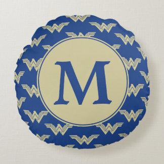 Coussins Ronds Motif de logo de femme de merveille de monogramme