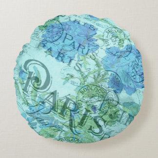 Coussins Ronds Motif floral bleu vintage de cachet de la poste de