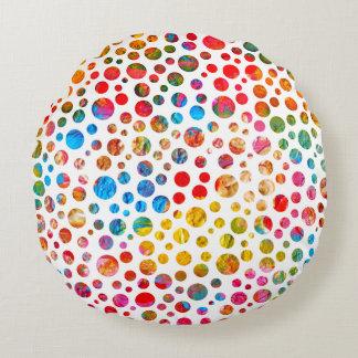 Coussins Ronds Motif magique de points colorés
