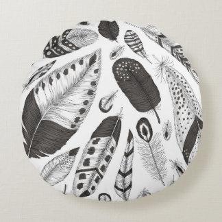Coussins Ronds Motif noir et blanc de plumes