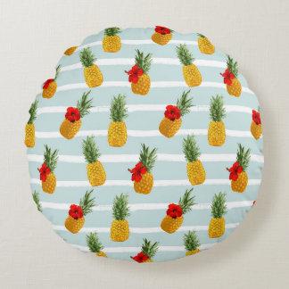 Coussins Ronds Motif sans couture d'ananas hawaïen d'été