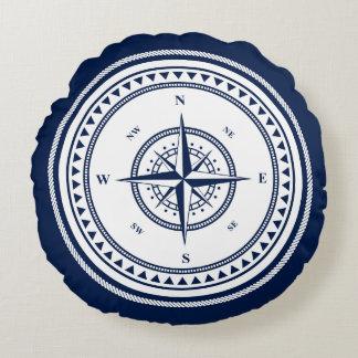 Coussins Ronds Navigation nautique bleue et blanche de boussole