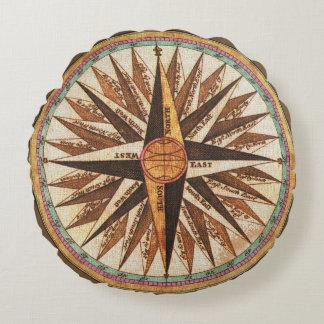 Coussins Ronds Navigation vintage de navigateur de la boussole du