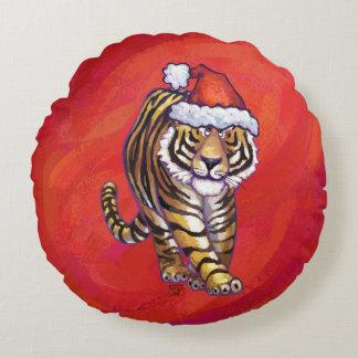 Coussins Ronds Noël de tigre sur le rouge