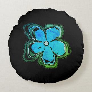 Coussins Ronds Noir bleu de coton de carreau