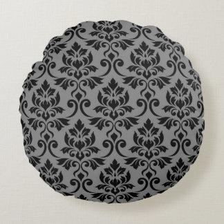 Coussins Ronds Noir et gris de motif de la damassé 2Way de