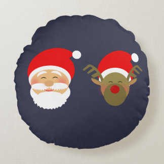 Coussins Ronds Père Noël et cool drôle mignon de bande dessinée