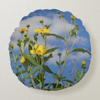 Coussins Ronds Photo jaune de tournesols