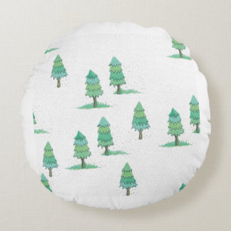 Coussins Ronds pines winter plus forest
