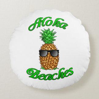 Coussins Ronds Plages hawaïennes drôles d'ananas Aloha
