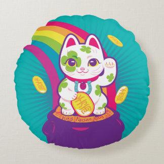 Coussins Ronds Pot de bonne chance de Maneki Neko de chat d'or