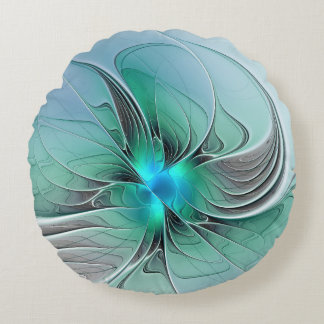 Coussins Ronds Résumé avec l'art bleu et moderne de fractale