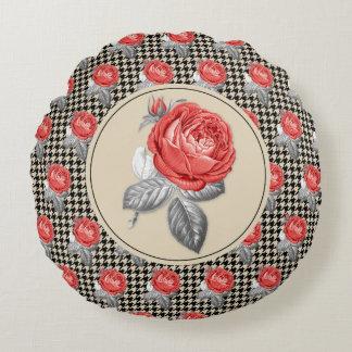 Coussins Ronds Roses roses vintages et motif de pied-de-poule