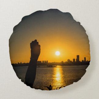 Coussins Ronds Scène de paysage urbain de coucher du soleil,