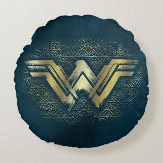 Coussins Ronds Symbole balayé d'or de femme de merveille