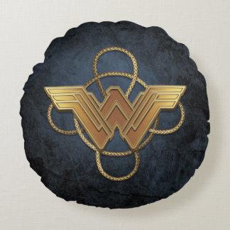 Coussins Ronds Symbole d'or de femme de merveille au-dessus de