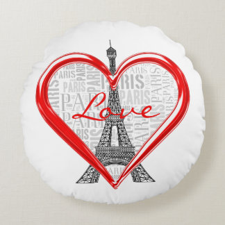 Coussins Ronds Tour Eiffel adorable de Paris | d'amour