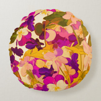 """Coussins Ronds Violettes au soleil autour du carreau (16"""")"""